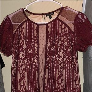 Lace maroon barely worn express shirt fancy